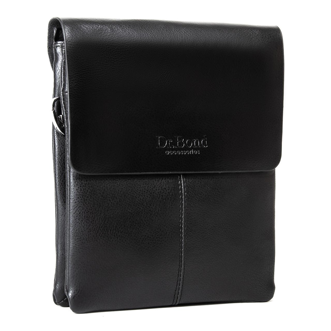 Мужская кожаная сумка планшет через плечо DR. BOND GL 209-3 black