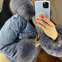 Куртка короткая джинсовая с капюшоном с натуральным мехом песца Турция