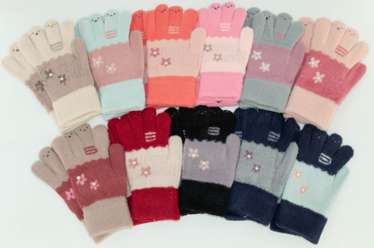 ОПТ Перчатки для девочки, р. 14 (4-6 лет), производитель Китай (6 шт/набор)