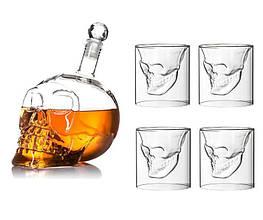 Подарочный набор Графин в форме Черепа 350 мл и набор из 4 стаканов Череп