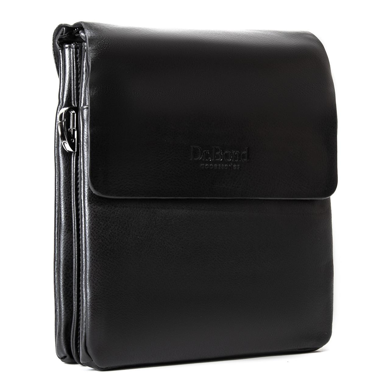 Мужская кожаная сумка планшет через плечо DR. BOND GL 309-3 black