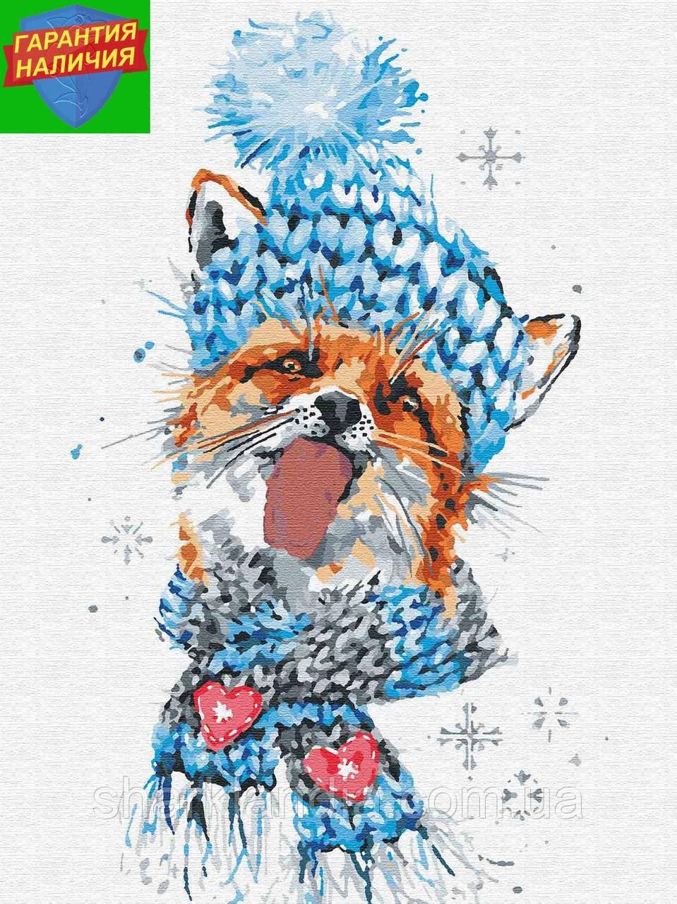 Картина по номерам Новогодняя лисичка в шапке Новый год +Лак 30*40см Барви Живопись по цифрам