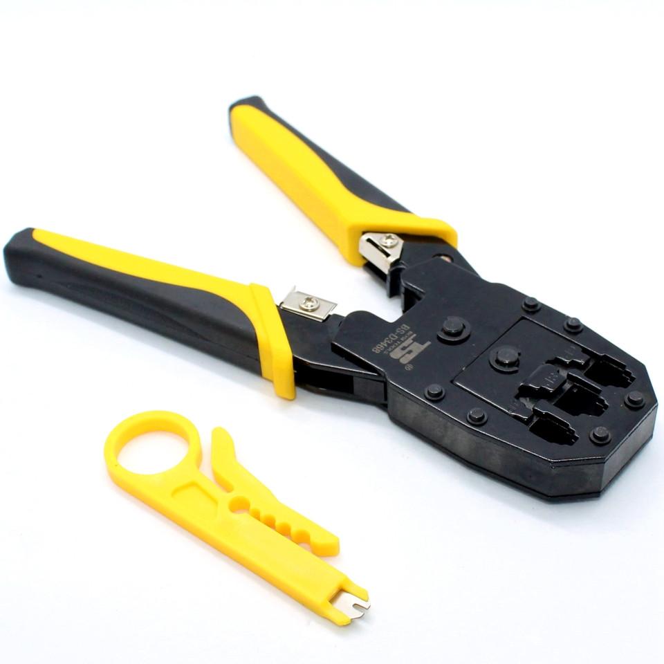 Клещи для обжима витой пары RJ45 D3468 Инструмент опрессовки штекеров коннекторов Lan сетевого кабеля Кримпер
