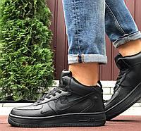 Мужские кроссовки Nike Air Force 1 07 Mid LV8 (черные) ЗИМА KS 1603