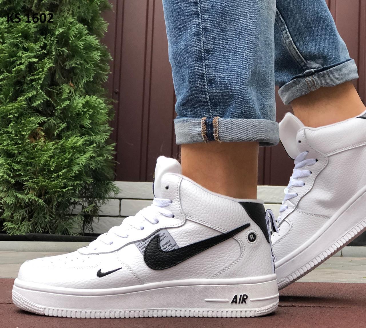 Мужские кроссовки Nike Air Force 1 07 Mid LV8 (бело-черные) ЗИМА KS 1602