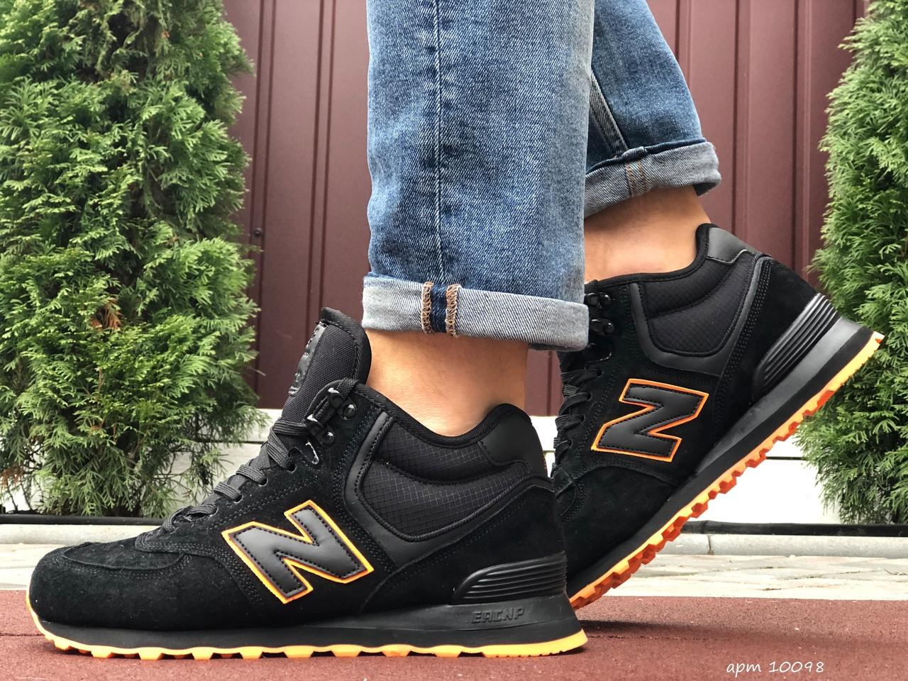 Мужские зимние кроссовки New Balance 574 (чорно-оранжевые) 10098