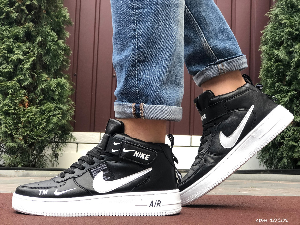 Мужские кроссовки Nike Air Force (черно-белые) 10101