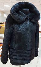 Шуба натуральный мех нутрии с капюшоном 65 см.