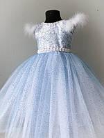 Нарядное платье для девочки голубое снежинка 3-5 лет, фото 1