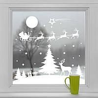 Новогодние наклейки на окна для дома, витрин магазинов, кафе, кухни, детской 1100х1000 мм Сказочная ночь