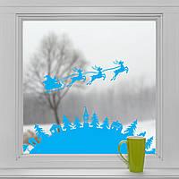 Новогодние наклейки на окна для дома, витрин магазинов, кафе, кухни, детской 1100х390 мм Рождество Голубой