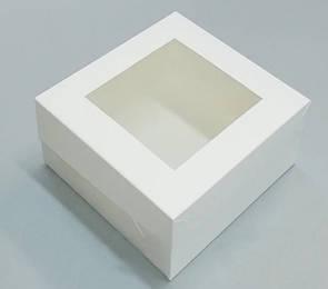 Коробка с окошком белая 130*130*60 мм ПДК13