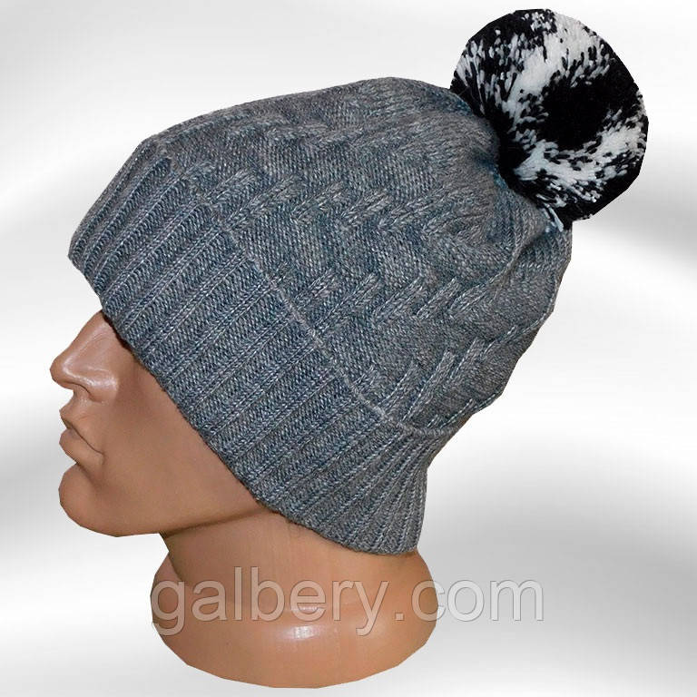 Вязаная мужская шапка - носок цвета маренго