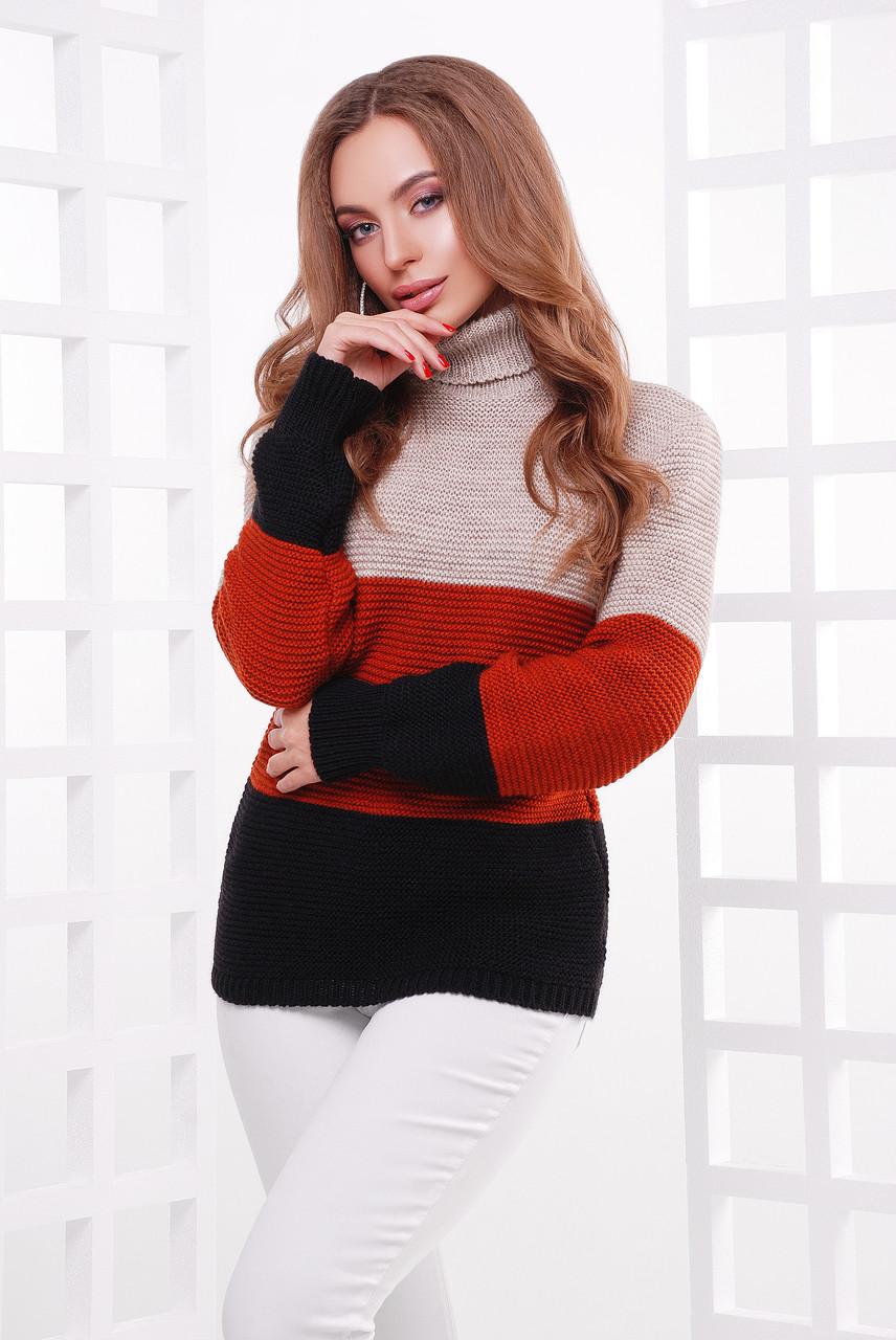 Женский трехцветный свитер с высоким воротником