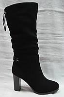 Черные замшевые зимние сапоги Geronea.