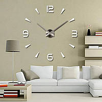 """Большие часы настенные 3D """"DIY"""" от 70до 150 см цвет серебро (8516-019)"""