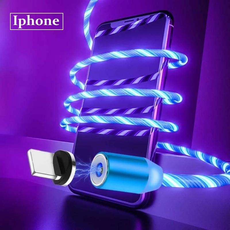 Светящийся кабель зарядки магнитный 2 м IPhone (0188unk)