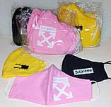 Многоразовые маски ПИТТА 100% КОТТОН! Трикотажные черные, принты с логотипом Печать на защитных масках Украина, фото 5