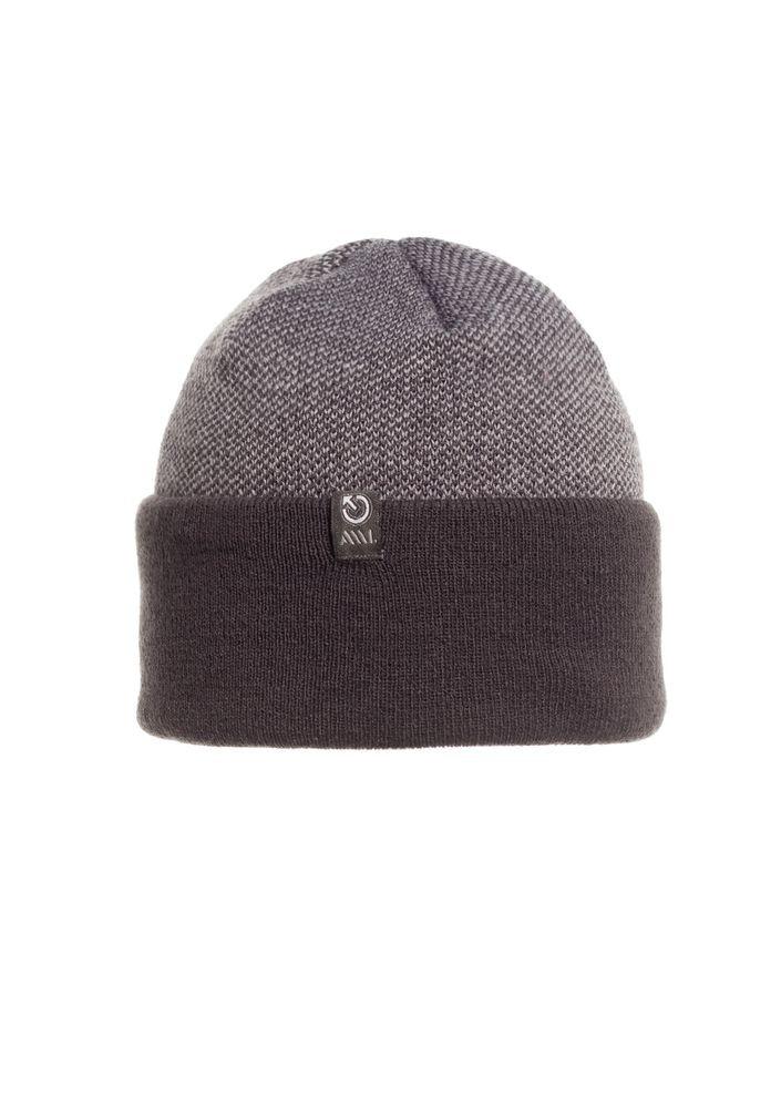 Качественная, удобная и практичная вязаная шапка с отворотом, серая.