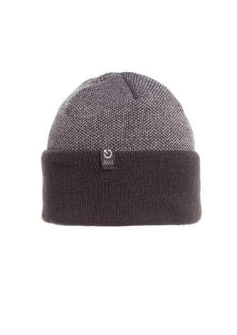 Качественная, удобная и практичная вязаная шапка с отворотом, серая., фото 2