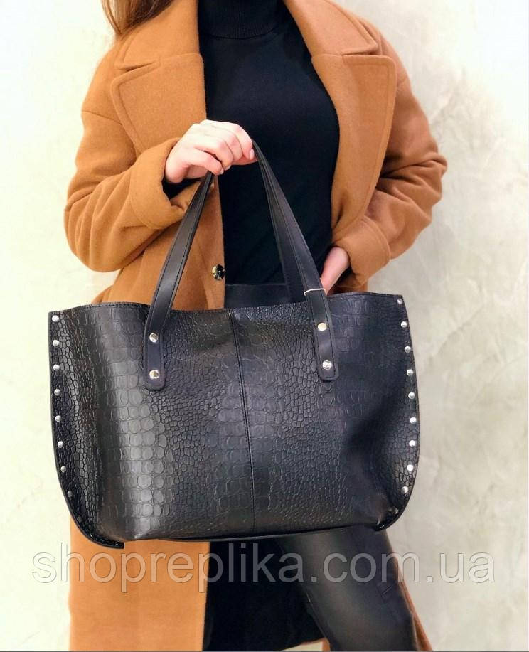Большая женская сумка шопер черная женский шоппер df265fв