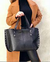 Большая женская сумка шопер черная женский шоппер df265fв, фото 1