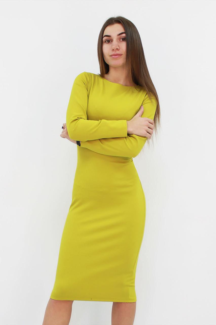 Удобное повседневное платье-футляр Helga, горчичный