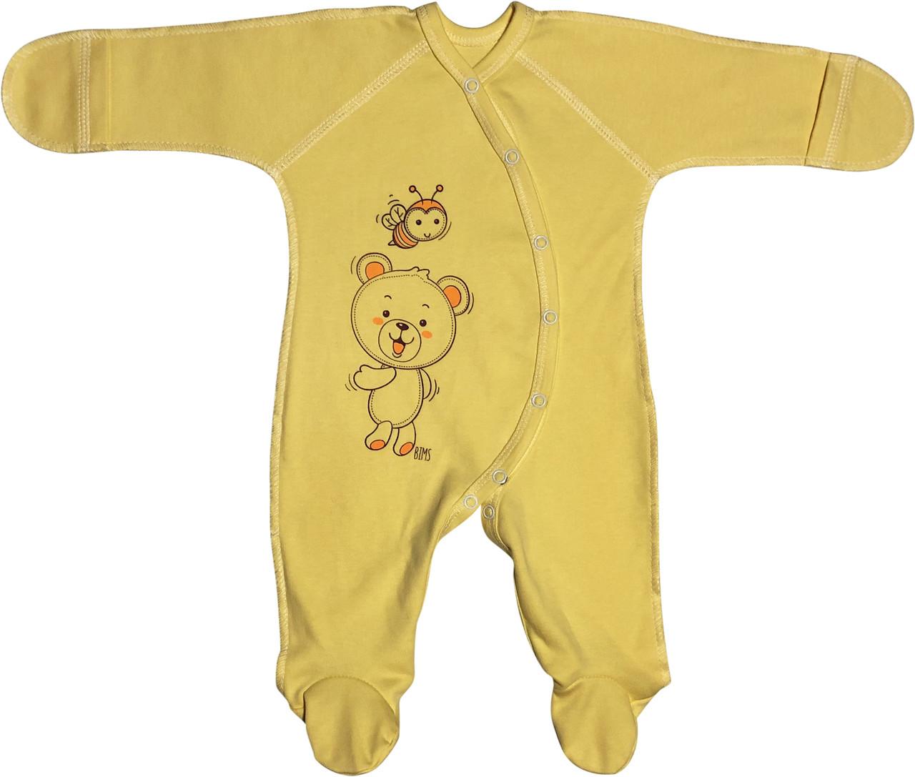 Тёплый человечек с начёсом царапками для новорожденных рост 56 0-2 мес на мальчика девочку трикотаж жёлтый
