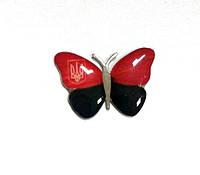 Значок Метелик червоно-чорний з тризубом