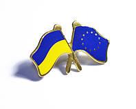 Значок прапор України та ЄС