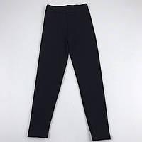 Детские трикотажные утепленные лосины для девочки рост 116 см (6 лет) Черные