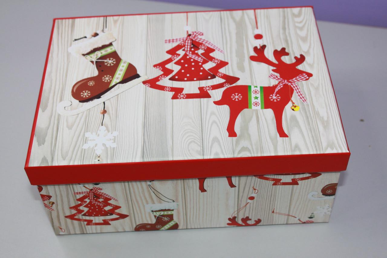 Коробочка подарочная с новогодним рисунком 24.5 см
