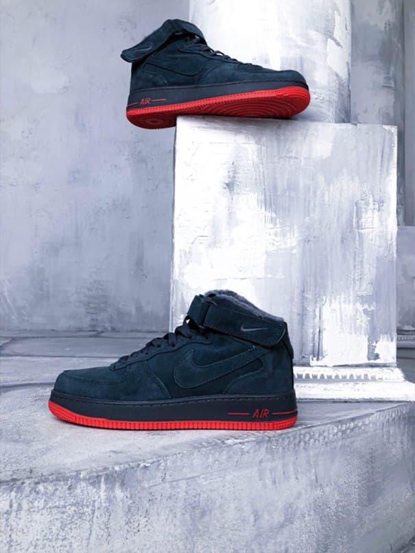 "Мужские зимние кроссовки Nike Air Force Winter ""Grey/Red""   (копия)"