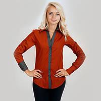 Рубашка женская терракотовая. Длинный рукав,приталенная. С контрастной отделкой. Разм. XS-L. Davanti.