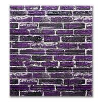 Стеновые 3D панели кирпичик, самоклеющиеся обои stickerwall Екатеринославский фиолетовый 5мм