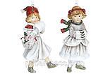 Декоративная подвесная фигурка Девочка с муфтой, 3шт., цвет - винтажный белый с красным, фото 2