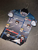 Футболка мужская синяя реплика D&G с принтом смайлов полосатая брендовая футболка мужская разноцветная XS