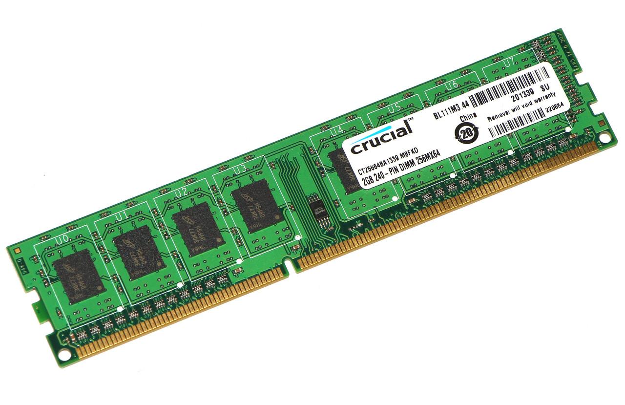 Оперативная память для ПК DDR3 Crucial 2Gb 1Rx8 PC3-12800 1600MHz Intel и AMD, б/у
