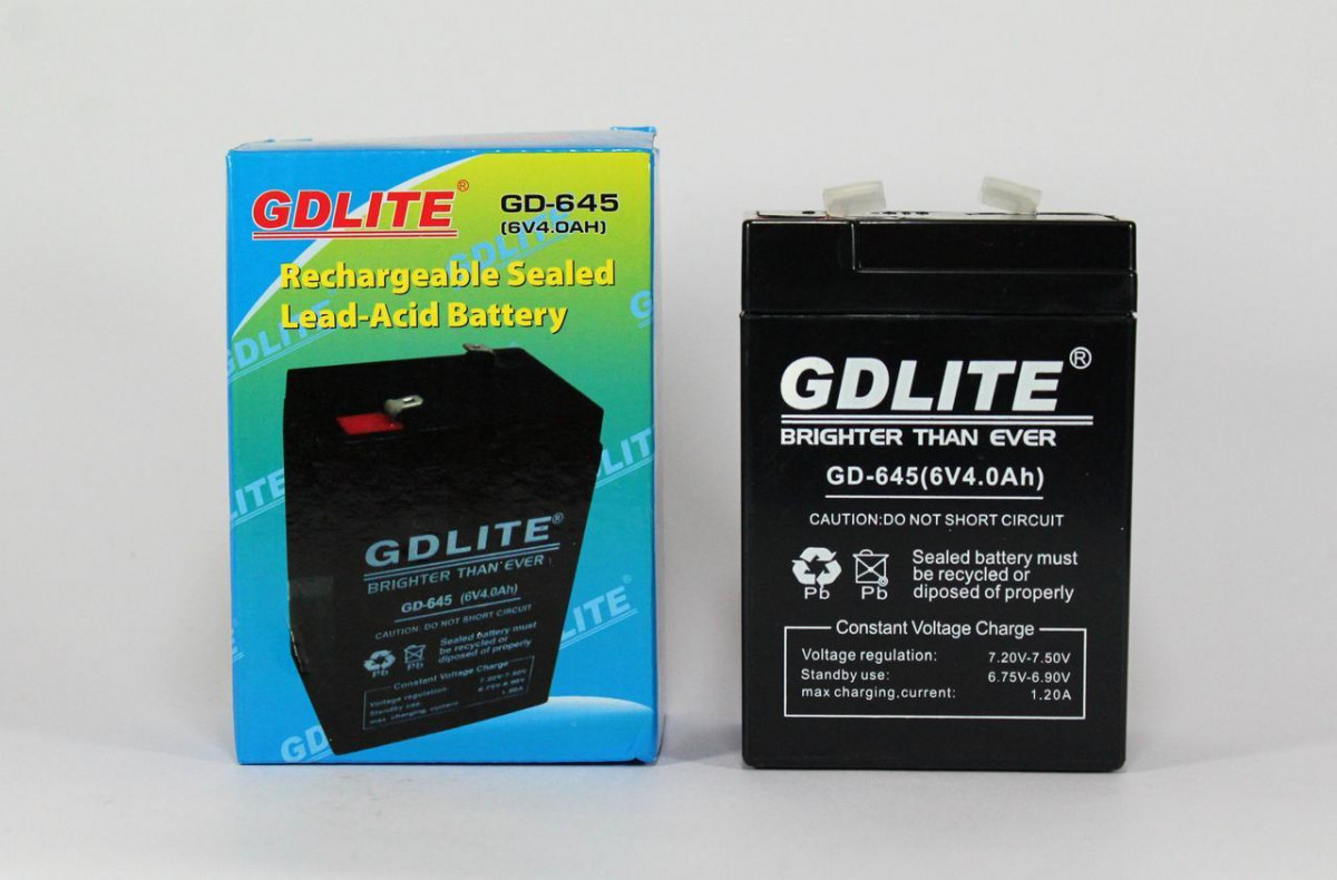 Аккумулятор BATTERY GD 645 6V 4A (Реальная ёмкость -40%)