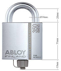 Замок навесной ABLOY PLLW350T *PROTEC2 CLIQ TA77ZZ M/S NR_shackle 25мм 14мм BOX