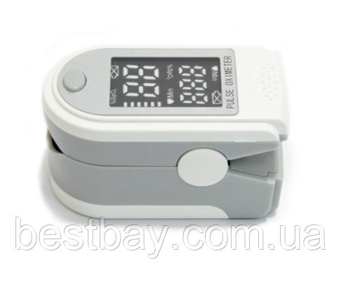 Пульсоксиметр SP02 серый с черно белым дисплеем, Oxiometer прибор для измерения кислорода в крови