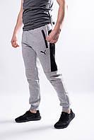 Мужские теплые спортивные трикотажные штаны на манжете Puma внутри на флисе
