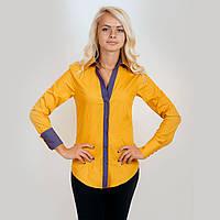 Рубашка женская желтая. Длинный рукав,приталенная. С контрастной отделкой под джинс. Разм. XS-L. Davanti.