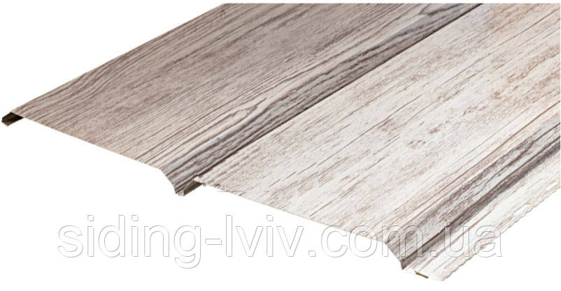 Металевий софіт панельна дошка біле дерево (гладка / перферована)