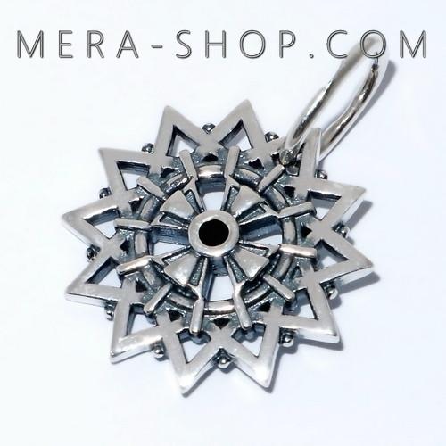 Звезда Эрцгаммы с ониксами черными двухсторонняя, амулет из серебра 925 пробы