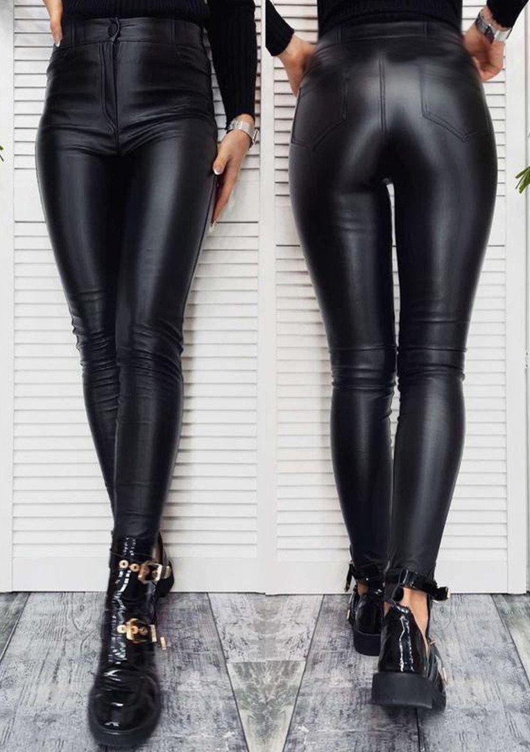 """Штаны женские теплые кожаные на флисе """"Kors""""  Батал, черный"""