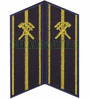 Петлиця вишита Укрзалізниця середній начальницький склад сині