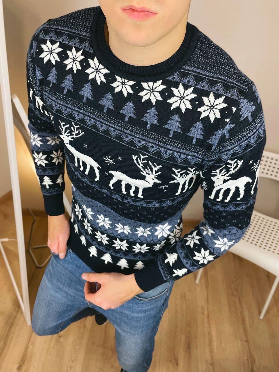 Чоловічий светр з оленями чорно-синьо-білий