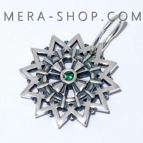 Звезда Эрцгаммы с топазами зелеными двухсторонняя, амулет из серебра 925 пробы