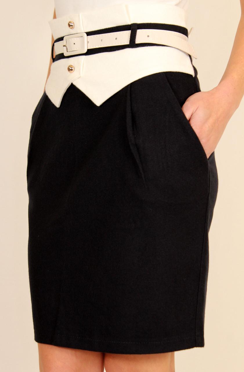 Теплая юбка на кокетке с завышенной талией 42-44-48 р